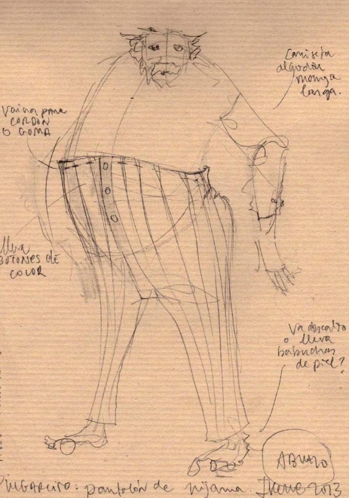 Figurín con el diseño de vestuario del abuelo