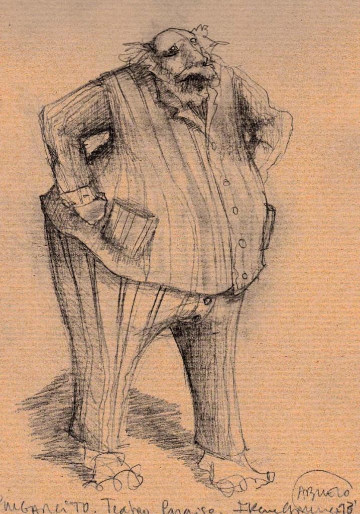 Figurín con diseño d pijama del personaje del abuelo